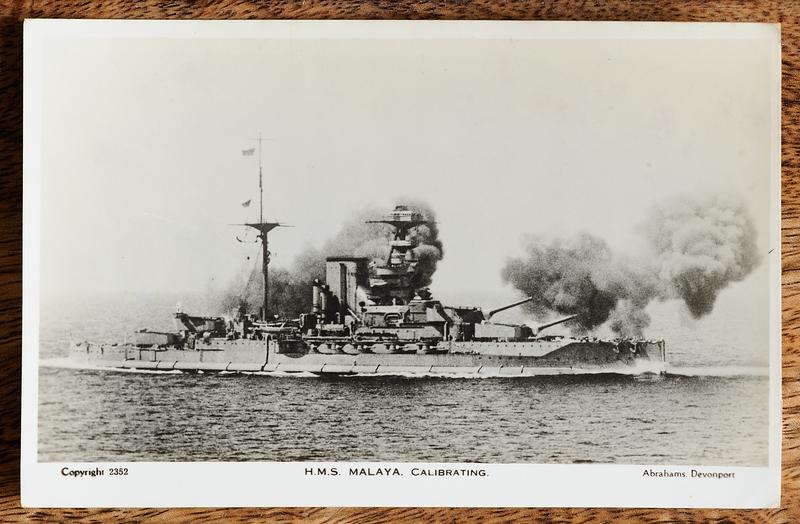 Postcard of H.M.S. Malaya calibrating her guns