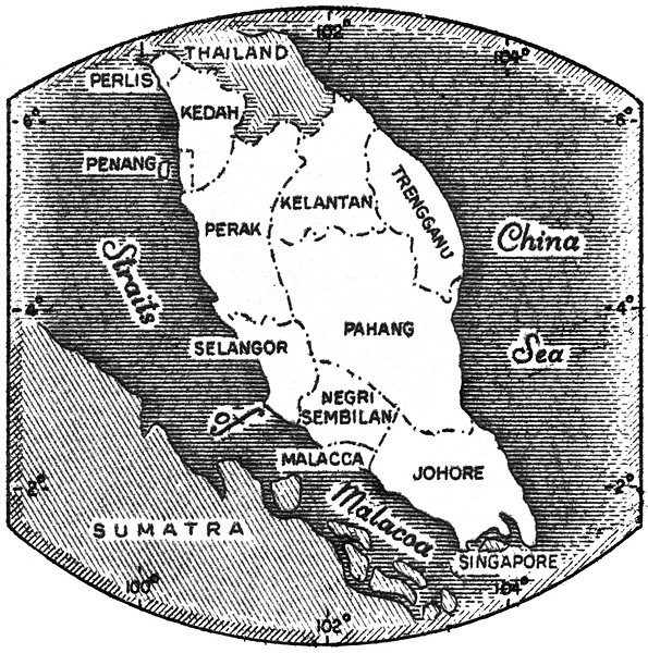 Map of Malaya engraved on 1957 Federation of Malaya postage stamp