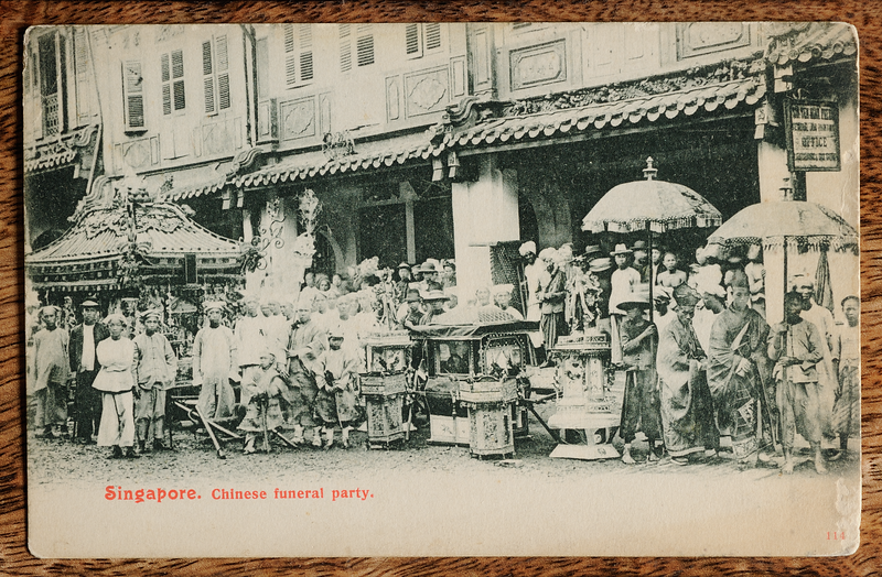 Singapore postcard of Straits Chinese funeral procession, published by Max H. Hilckes