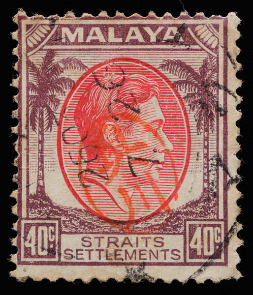 Malaya Japanese occupation 1942 Okugawa Seal on Straits Settlements 40c