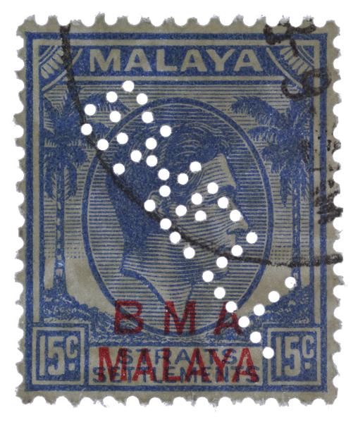 KGVI BMA MALAYA SHELL perfin 15c