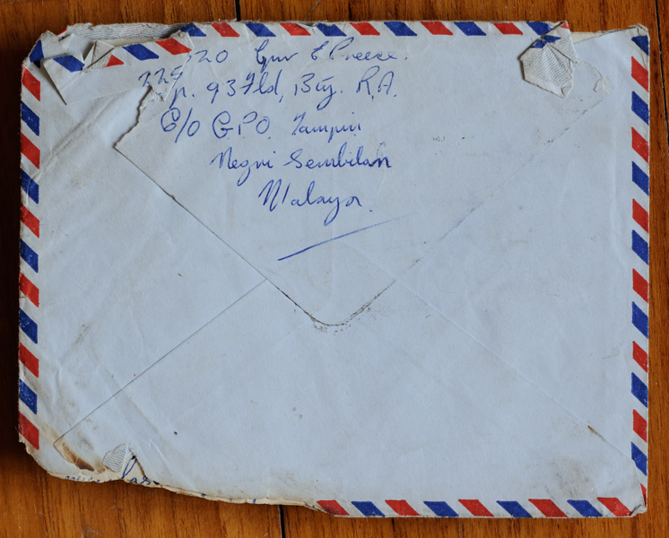 Back of letter salvaged from BOAC Comet crash at Calcutta on 2 May 1953