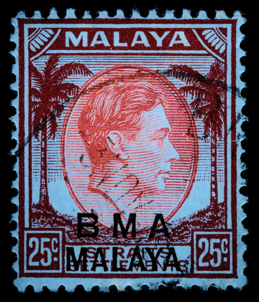 BMA Malaya 25c chalky paper UV fluorescence