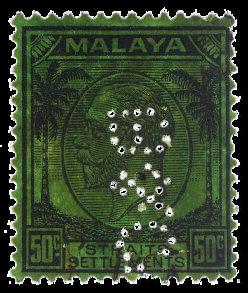 Malaya Straits Settlements KGV 1936 50c Boustead & Co perfin