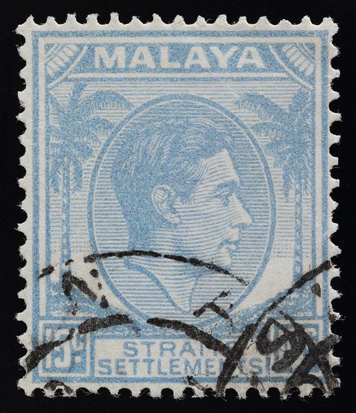 Malaya Straits Settlements KGVI 15c SG298 dull cobalt blue