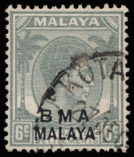 BMA MALAYA 6c grey on striated paper