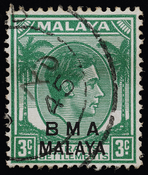 BMA Malaya 3 cents postmark with handwritten date slug