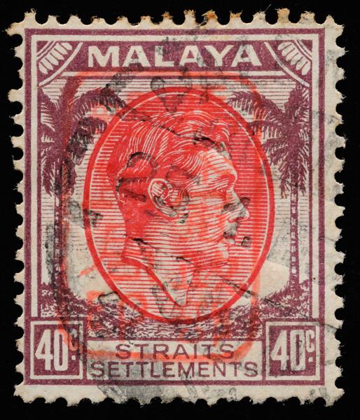 Japanese Occupation single frame overprint on Straits Settlements 40c postmarked in Palembang, Sumatra