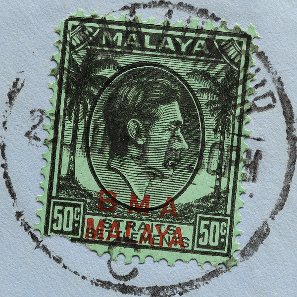 BMA Malaya 50c with socked on the nose cancellation