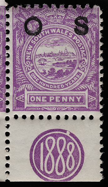 New South Wales centenary commemorative stamp with 1888 monogram in margin