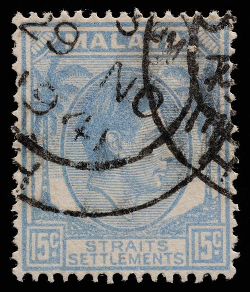 Malaya Straits Settlements KGVI 15c dull cobalt blue