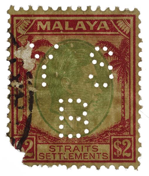 Malaya Straits Settlements KGVI $2 with Yokohama Specie Bank YSB perfin