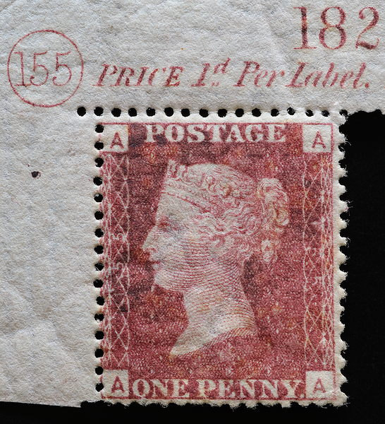 GB Queen Victoria Penny Red plate 155 position AA corner margin, current number 182