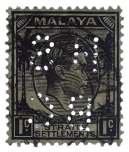 Malaya Straits Settlements KGVI 1c HSBC perfin