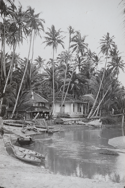 Singapore Tanjong Rhu coconut river sampan postcard