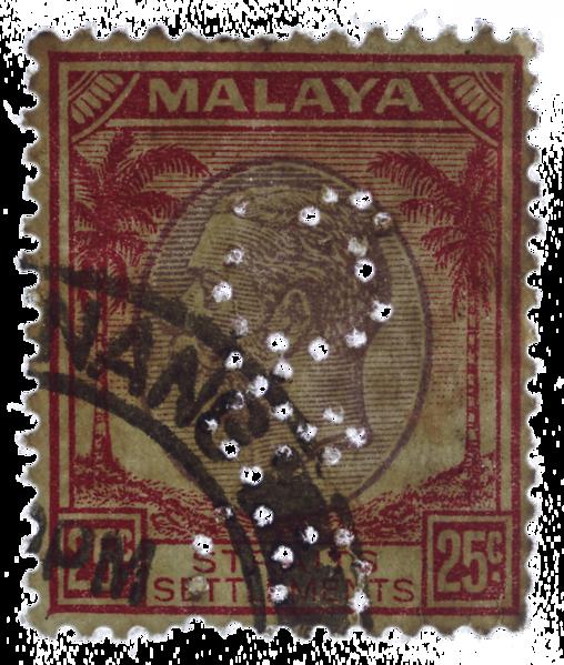 Malaya Straits Settlements KGV 25c Boustead perfin Penang