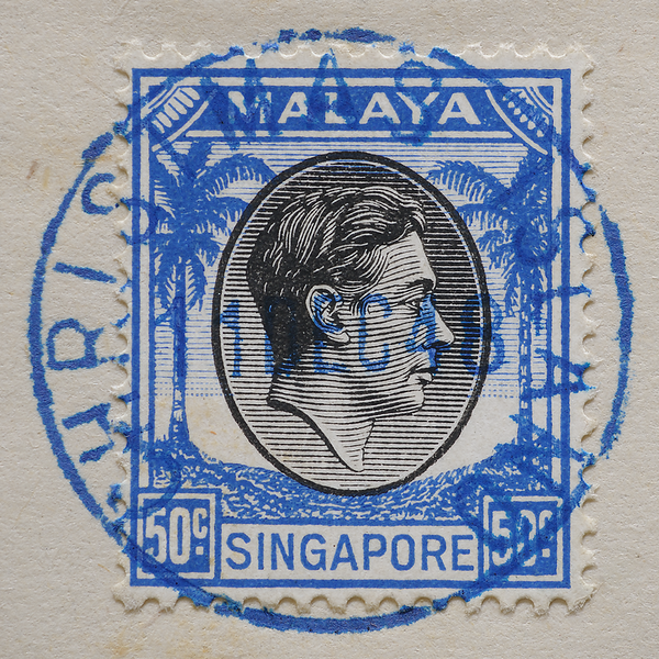 Malaya Singapore 1948 50c KGVI with blue Christmas Island postmark