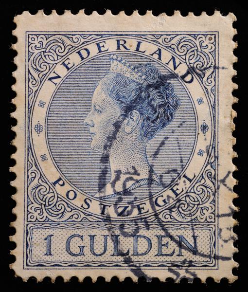 Netherlands Queen Wilhelmina 1926 definitive stamp design: 1 gulden blue, perforation 12.5 issued in 1930