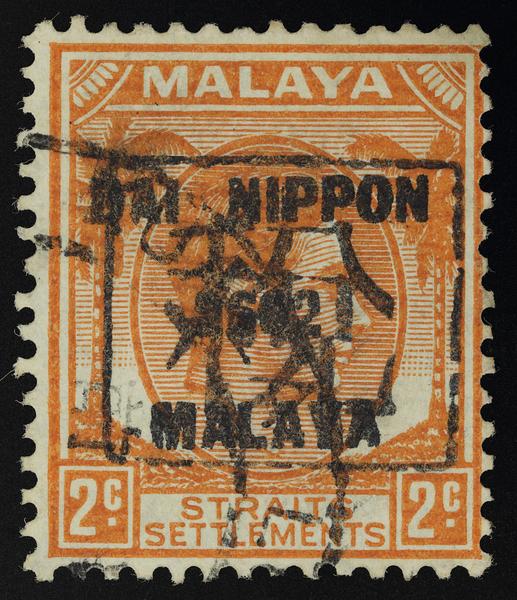 Japanese occupation 税 tax chop on Straits Settlements 2c with Dai Nippon 2602 Malaya overprint
