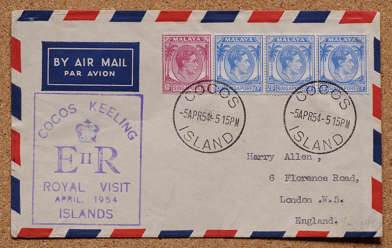 Cocos Islands cover QEII Royal Visit 5 April 1954 violet Qantas cachet Harry Allen