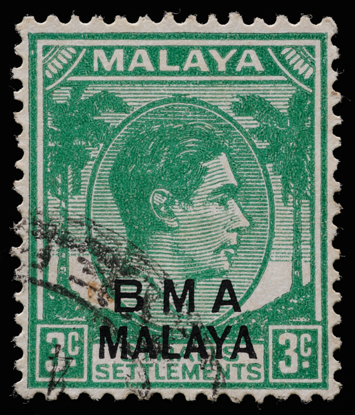BMA MALAYA 3c green on substitute paper with unusual flat print quality