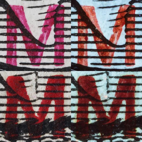 BMA Malaya 1c magenta overprint long-wave UV fluorescence