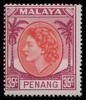 Malaya Penang Queen Elizabeth II 35c coconut definitive postage stamp