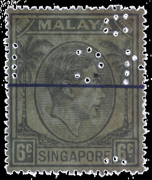 Singapore 1949 SMC perfin 6c