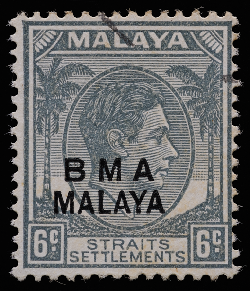 BMA MALAYA 6c shifted overprint