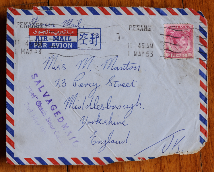 Forces mail from Penang, Malaya, salvaged from BOAC Comet crash at Calcutta on 2 May 1953