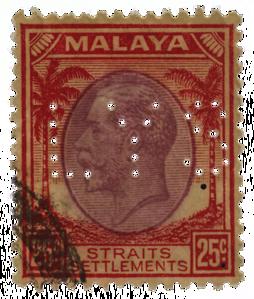 Malaya Straits Settlements 1936 KGV 25c Law Yew Swee perfin
