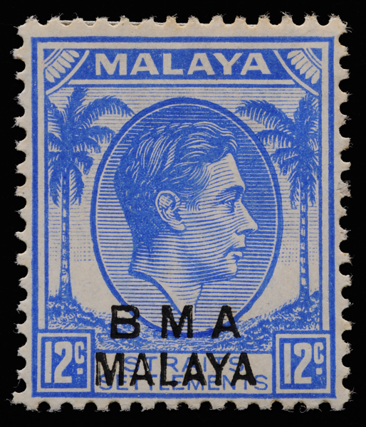 BMA MALAYA 12c ultramarine Die I