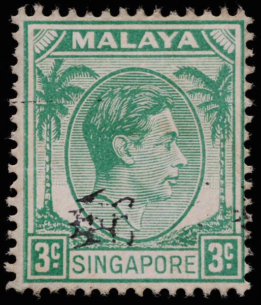 Singapore Malaya 1948 3c green King George VI