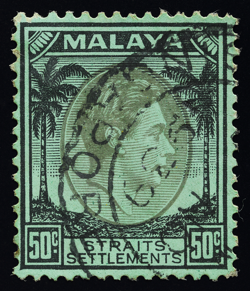 Malaya Straits Settlements KGVI 50c with olive vignette