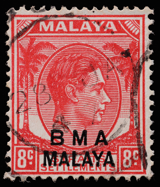 BMA MALAYA 8c postmarked 1947