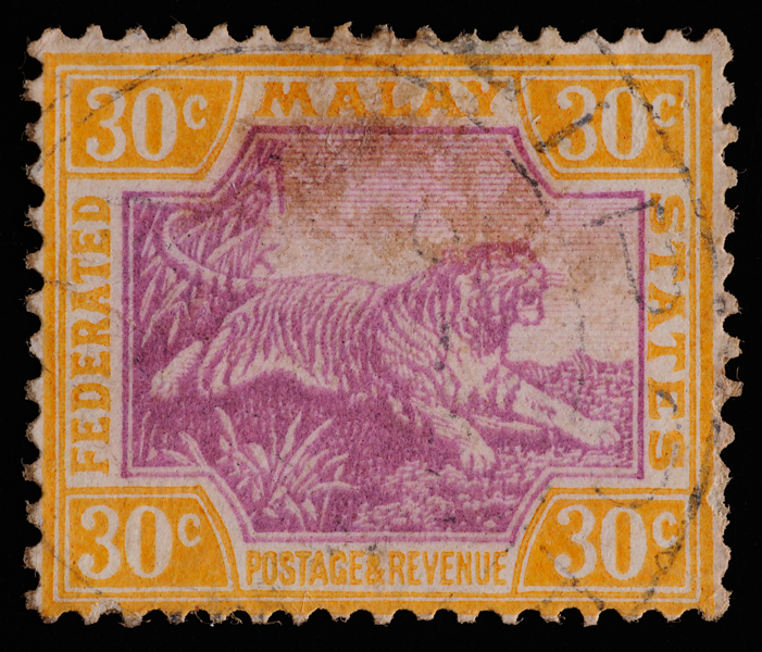 Federated Malay States tiger definitive 30c 1929