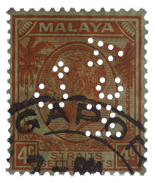 McAlister perfin on Malaya Straits Settlements KGV 4c