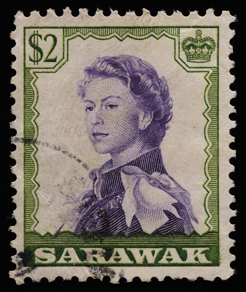 Sarawak 1957 featuring the 1954 portrait of QEII by Pietro Annigoni, engraved by Nigel Alan Dow