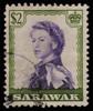 Sarawak 1957 featuring the 1954 portrait of QEII by Pietro Annigoni, engraved by Nigel Alan Dow