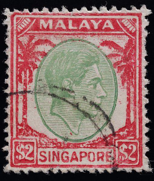 Singapore 1948 KGVI $2 postal forgery