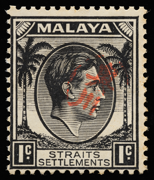 Malaya Japanese occupation Okugawa Seal on Straits Settlements 1c