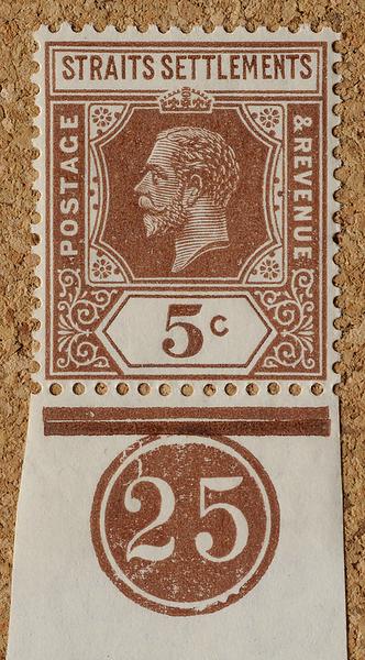 Straits Settlements Imperium KGV 5c margin plate 25
