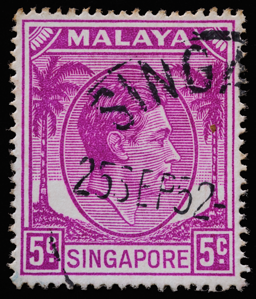 Malaya Singapore 1949 5c purple aniline coconut definitive