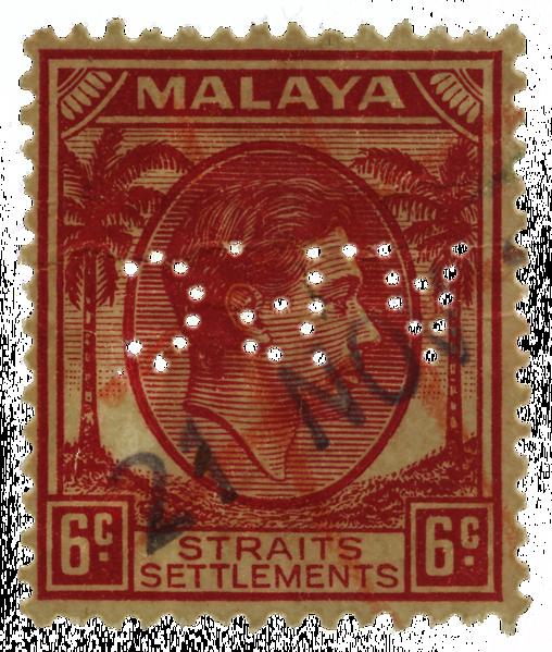 Malaya Straits Settlements 1937 6c Asiatic Petroleum Company perfin
