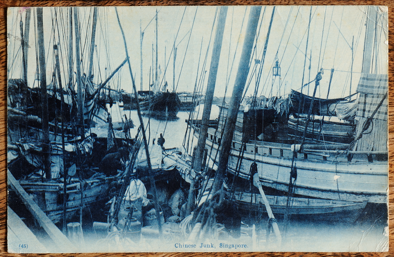 Picture postcard with cyanotype print of Chinese junks in Singapore