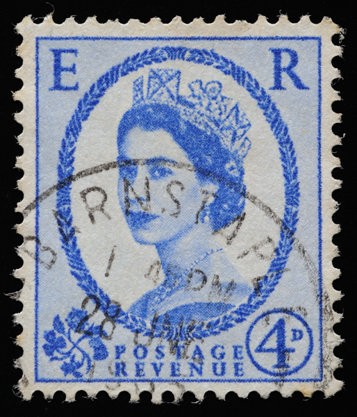 GB QEII oblique photographic portrait definitive stamp 1952