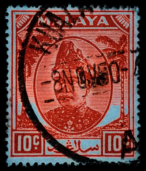 Malaya Selangor Sultan Hisamuddin 1949 10c UV fluorescence