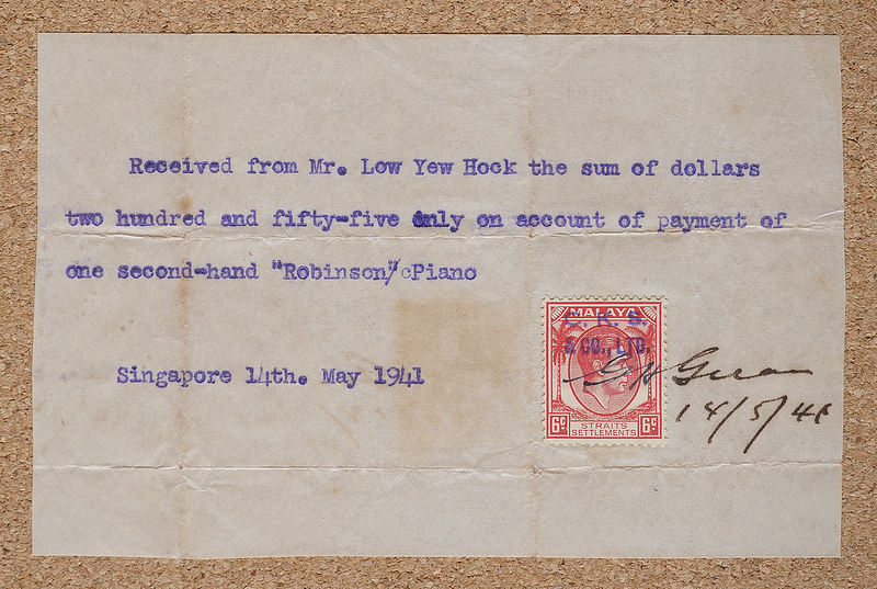 Piano receipt with Malaya Straits Settlements KGVI 6 cents 1937 stamp