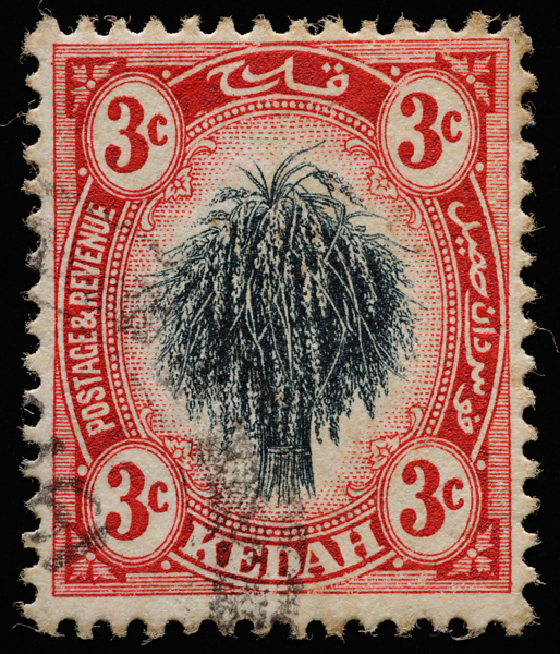 Kedah 1912 SG2 3c black and red sheaf of rice