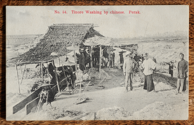 Malaya postcard: tinore washing by Chinese, Perak. Published by A. Kaulfuss, Penang.